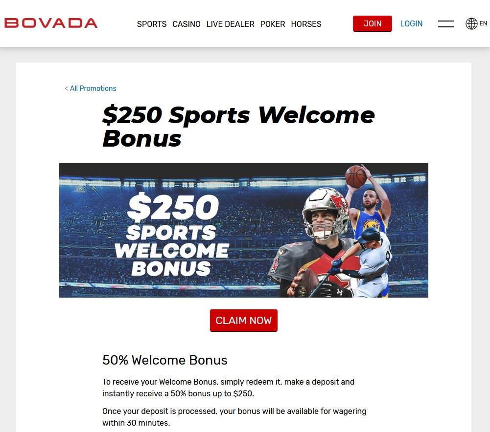 Bovada Sports $250 Welcome Bonus